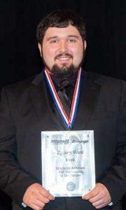 Zackery Ward with ASE Award