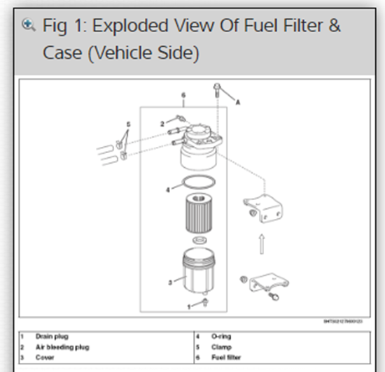 Exploded view of fuel filter case in auto repair information ProDemand