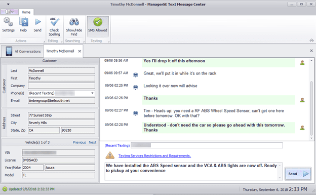 Text Message Dashbord in Mitchell 1 Manager SE Shop Management System