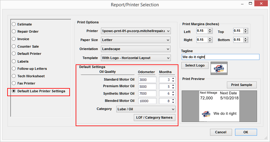 Printer Selection in Manager SE