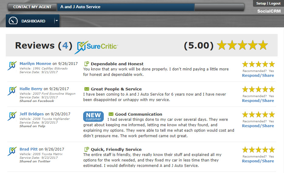 SocialCRM reviews dashboard