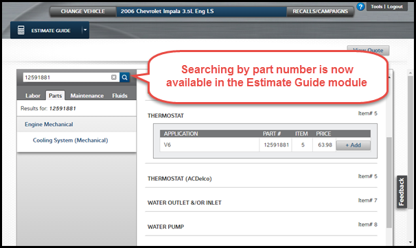 Figure 2: Search by OEM part number