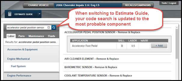 Figure 1: Component passed into Estimate Guide