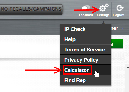 Click the gear icon to find the calculator in TruckSeries