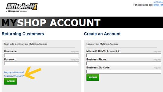 Mitchell 1 Software Bill Pay - Forgot Password