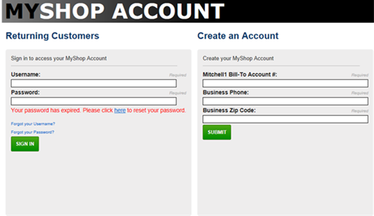 Resetting your Mitchell 1 MyShop Bill Pay Password