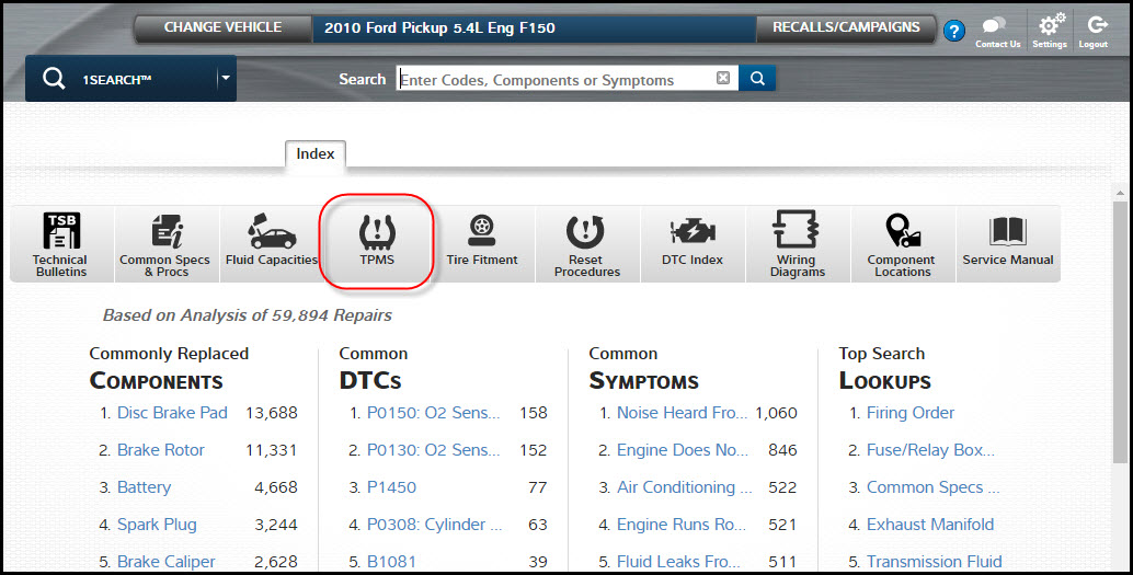 TPMS quick link lookup software in Mitchell 1 ProDemand Repair Information Software