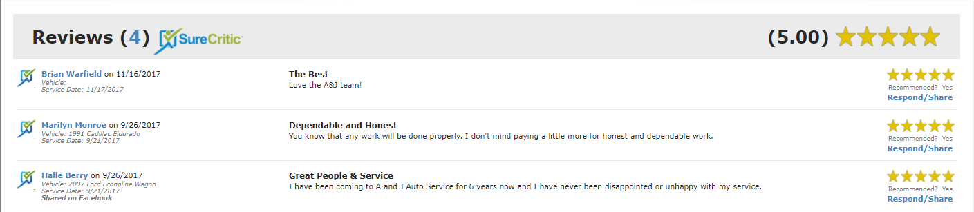 Answering My Auto Shop Reviews