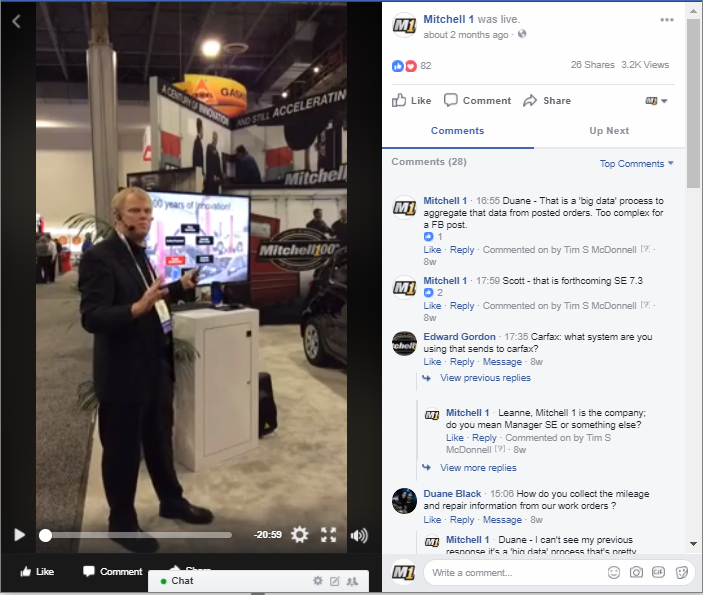 Mitchell 1 Example of Live Video for Creating Social Media Posts in 2018