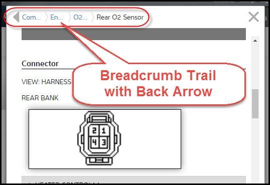 navigating breadcrumb trail back arrow