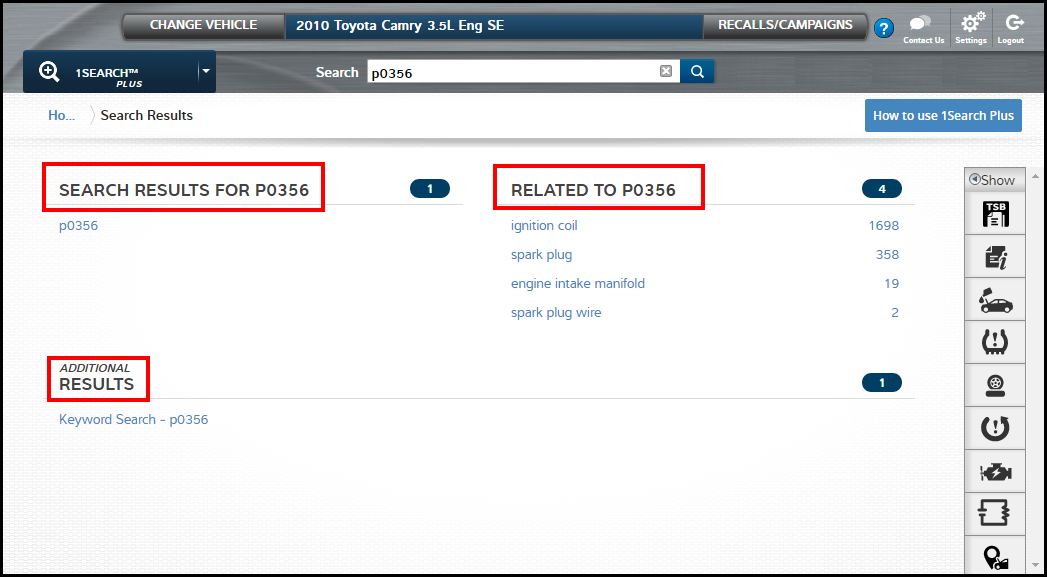 ProDemand Search Results navigation for DTC codes