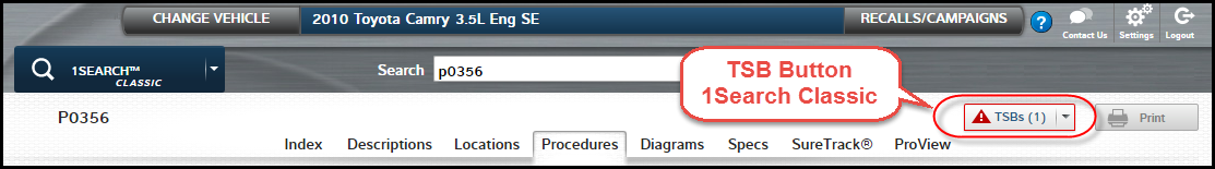 TSB Button in new version of ProDemand, 1Search Plus