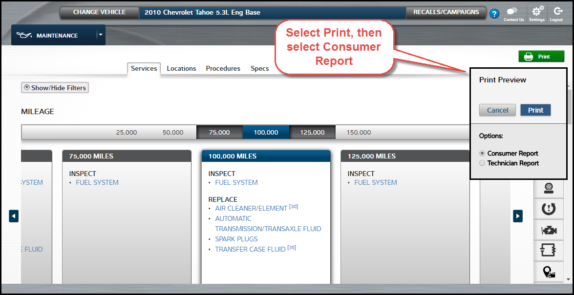 How to print a consumer report in ProDemand